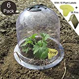 SYITCUN Protective Garden Cloche Reusable Plastic 6 Pack Plant Bell Cover Plant Protector Cover for Season extention with Ground Securing Pegs (8' Diam. x 7' Height)