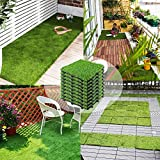 Interlocking Artificial Grass Tiles 12''x12'' (9 PCS), Outdoor Turf Grass for Dogs Pet, Synthetic Grass Rug for Patio House Decoration Balcony