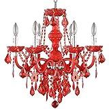 Hampton Bay 6-Light Maria Theresa Chrome Red Acrylic Chandelier