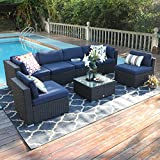 PHI VILLA Outdoor Couch Rattan Sectional Sofa- Large Outdoor Patio Wicker Furniture Set (7-Piece, Navy Blue)