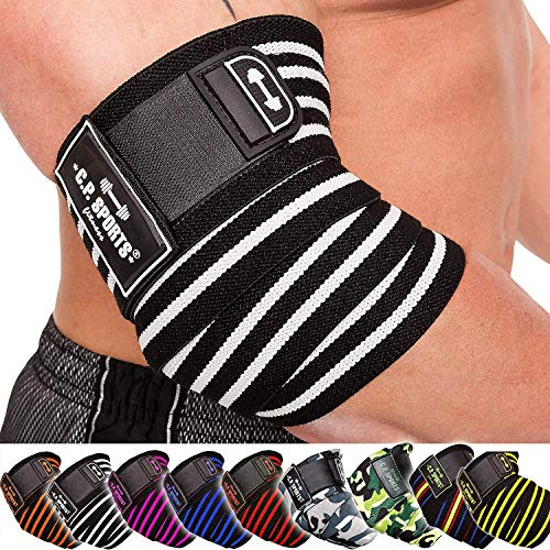 C.P.Sports Elbow Bandage Weightlifting 1 Coppia, Fitness, Crossfit, Bendaggio Sportivo, Bodybuilding, Powerlifting (Black Orange)