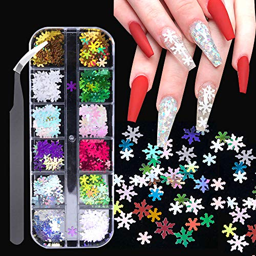 12 Colors Snowflake Nail Art Sequins Stickers with a Tweezers, 3D Flake Christmas Nail Snowflakes Shaped Colorful Design Manicure Nails Supply Glitter Decorations
