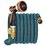 JOOIKOS Expandable Garden Hose 50ft - Water Hose with 10 Functions Nozzle and Durable Connectors,Extra Strength Fabric,Lightweight Garden Hose