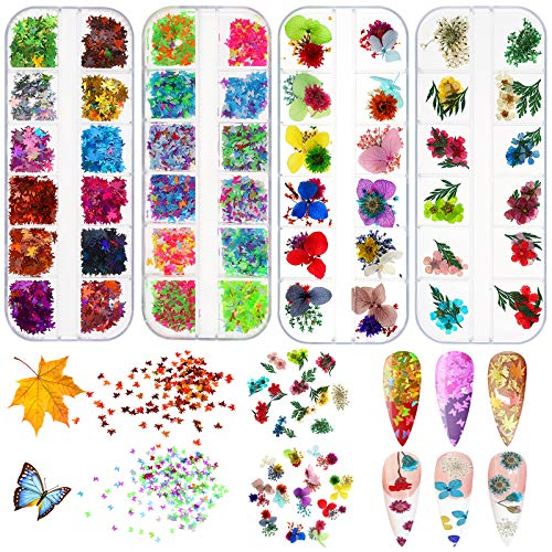 48 Colors Dried Flowers Nail Art Maple Leaf Nail Sequins Butterfly Nail Art Glitter, Nail Decorations for Halloween Nail Art Flakes, Nail Face Body Decoration Accessories&DIY Crafting …