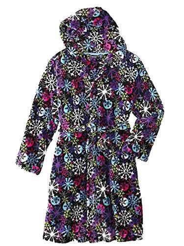 Joe Boxer Girls Black Snowflake Fleece Hoodie Bath Robe House Coat Shower Wrap