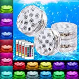 Submersible Pool Lights   Underwter Pond LED Light   16 Colors Changing Remote Control for Fish Tank,Aquarium,Tub,Fountain,Waterfall,Vase Base Best Christmas Party Supplies Events Décor(4 Pack)