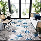 Safavieh Cabana Collection CBN800F Floral Indoor/ Outdoor Non-Shedding Stain Resistant Patio Backyard Area Rug, 5'3' x 7'6', Grey / Blue