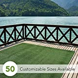 iCustomRug Indoor/Outdoor Turf Rugs and Runners in Green 12' X 10' Low Pile Artificial Grass in Many Custom Sizes and Widths with Finished Edges with Binding Tape
