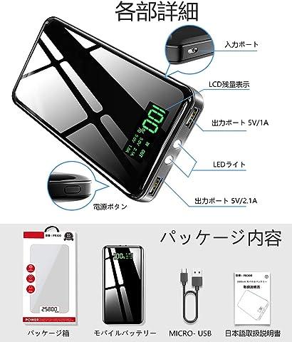 Totemoi モバイルバッテリー 25800mAh LEDライト付き 各部名称