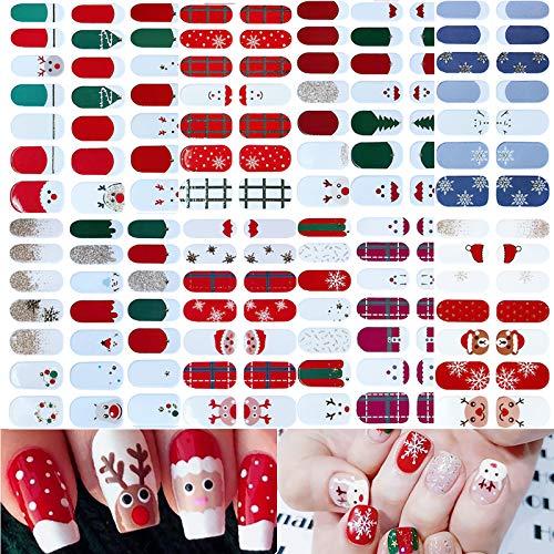 14 Sheets Christmas Nail Polish Wraps - Full-Cover Christmas Nail Strip Decals Adhesive Snowflake Snowmen Santa Claus Elk Bell Xmas Tree Nail Stickers Strips for Christmas Party Decoration