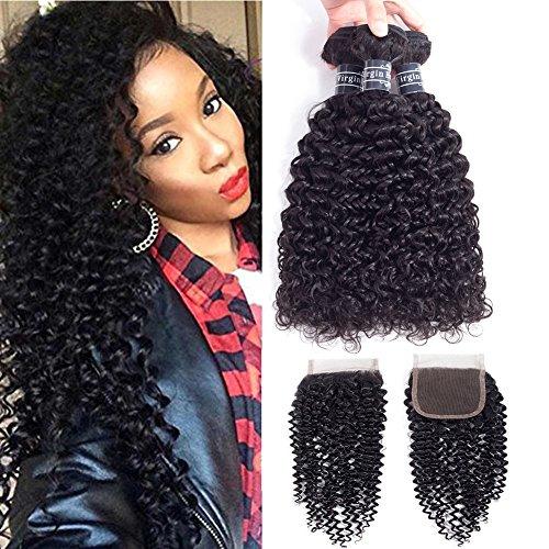Amella Hair 8A Brazilian Kinky Curly Weave Human Hair Bundles with Closure Good Quality Brazilian curly Hair 3 Bundles with Closure 12' 14' 16'+12inch Closure