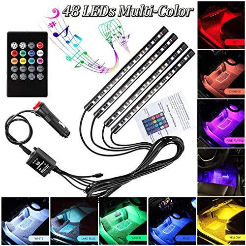 Underdash LED Car Interior Footwell Lights, Striscia al Neon per Auto con luci Multicolore, 12V, per Decorazione Auto,48LEDlight