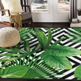 ALAZA Summer Exotic Jungle Tropical Palm Tree Leaves Area Rug Rugs for Living Room Bedroom 7' x 5'