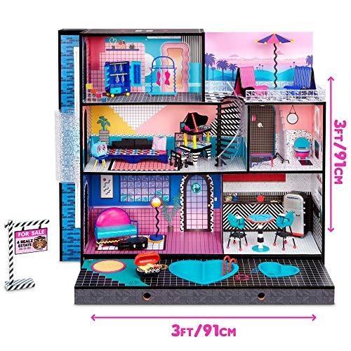 Image 5 - LOL Surprise OMG Maison de poupée. Vraie maison en bois & meubles. + 85 Surprises, 6 pièces dont 1 chambre, 1 piscine, 1 ascenseur, 1 cuisine, 1 armoire & + ! Maison 91x91cm, filles/garçons 3 ans et +