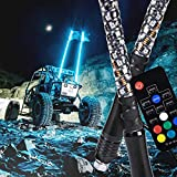 2pc 4ft Spiral LED Whip Lights for UTV ATV [21 Modes] [20 Colors] [RF Wireless Remote] [Weatherproof] [USA Flag] LED Lighted Whips Antenna for RZR Can-Am Polaris UTV ATV Accessories