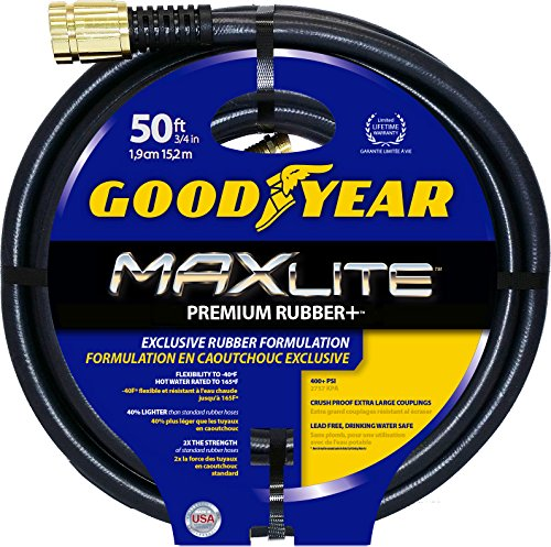 Swan Products CGYSGC58050 Goodyear MAXLite Premium Rubber+ Water Hose with Crush Proof Couplings 50' x 5/8', Black