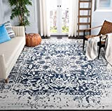 Safavieh Madison Collection MAD603D Oriental Snowflake Medallion Distressed Non-Shedding Stain Resistant Living Room Bedroom Area Rug, 8' x 10', Cream / Navy