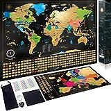 Carte du Monde à gratter XXL - Carte du Monde en Poster Extra Large et Personnalisé + Carte à...
