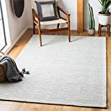 Safavieh Marbella Collection MRB392F Flat Weave Wool Area Rug, 9' x 12', Light Grey/Ivory