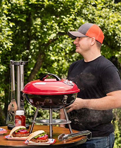 Product Image 5: Cuisinart CCG190RB Portable Charcoal Grill, 14-Inch, Red, 14.5