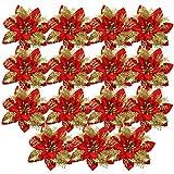 HQdeal 15Pcs Adornos Arbol Navidad Flor de Pascua Artificial Navidad, Adornos de Navidad para el Arbol,Decoracin Arbol de Navidad,Guirnaldas Adornos Navideos Arbol Decoraciones Fiesta Dorado (Rojo)
