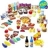 THE TWIDDLERS 150PCS Nourriture Jouet Dinette | Plastique Nourriture Jouets de Cuisine | Assorti Aliments Jouets | Accessoire Cuisine Jouet | Jouets de Cadeau de Noël | Éducatifs et la Créativité
