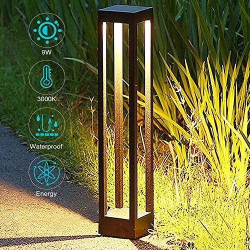 LED Wegeleuchte Pollerleuchten 3000K,Extra Helle 9W LED,4.33 * 4.33 * 23.9 in,Wegeleuchten Aussen,Gartenleuchte,Standleuchte, Pollerleuchte IP65 Wassergeschützt