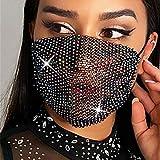 Sethexy Funkelnd Netzmaske Strass Maskerade Bunte schwarze Kristallkugel Party Nachtclub Karneval Masken für Frauen und Mädchen