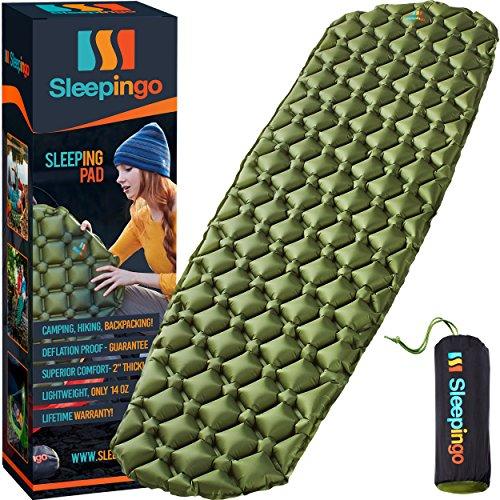 Sleepingo Camping Sleeping Pad - Mat, (Large), Ultralight 14.5 OZ, Best Sleeping Pads for Backpacking, Hiking Air Mattress - Lightweight, Inflatable & Compact, Camp Sleep Pad