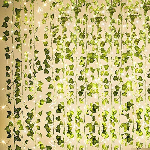 KASZOO 84Ft 12 Pack Artificial Ivy Garland Fake Plants, Vine Hanging Garland with 80 LED String Light, Hanging for...