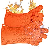 Jolly Green Products Ekogrips Premium BBQ Oven Gloves | Heat Resistant Grill Gloves | Insulated Silicone Oven Mitts for Grilling | Waterproof | Forearm Protection | (One Size Fits Most, Orange)