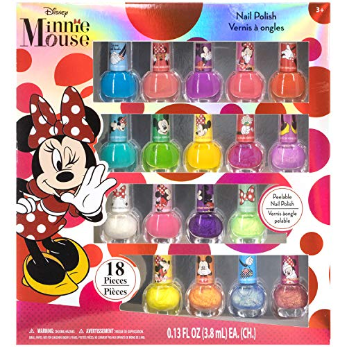 Townley Girl Disney Minnie Mouse Non-Toxic Peel-Off Nail Polish Set for Girls, Glittery and Opaque Colors, Ages 3+ (18 Pieces)