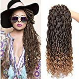 Karida 6Pcs/Lot Curly Faux Locs Crochet Hair Deep Wave Braiding Hair With Curly Ends Crochet Goddess Locs Synthetic Braids Hair Extensions (18inch, T1B/27#)
