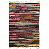 Royal Fiesta Chindi 4x6 Area Rag Rug Colorful Striped Braided Recycled Fabric for Hardwood Floors