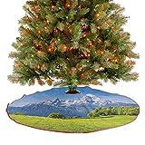 Faldas de árbol de Navidad, paisaje pastoral en los Alpes con prado y flores del norte de Alemania, decoración de vacaciones, adornos para casa de campo, chimenea, fiesta, verde, azul, 122 cm