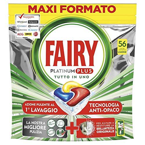 Fairy Platinum Plus 56 Pastiglie Per Lavastoviglie, Detersivo in Confezione Maxi Formato da 56 Caps,...