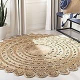 Safavieh Natural Fiber Round Collection NF805B Handmade Boho Charm Braided Jute Area Rug, 6' x 6' Round, Natural