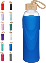 Origin Best BPA-Free Borosilicate Glass Water Bottle with Protective Silicone Sleeve and..