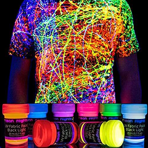 Neon Nights Vernice per Tessuto che Illumina e Splende nel Buio, Kit Aerografo Tinta Abbigliamento,...