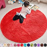 PAGISOFE Red Round Rug Circle Rugs 4x4, Ultra Soft Children Rug for Boys Bedroom Fluffy Carpets and Shaggy Rugs Small Teepee Furry Mat Comfy Reading Rug Circular Rug 4x4 Rugs