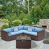 SUNBURY Outdoor 4-Piece Sectional Sofa w 32-inch Propane Fire Table, Brown Patio Furniture Set w 40,000 BTU Square Wicker Fire Table, Glass Wind Guard w 2 Stripe Pillows, Denim Blue Cushions