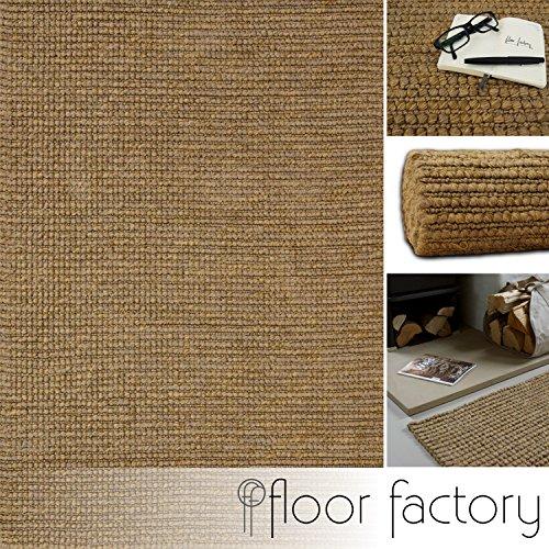 floor factory Tappeto Moderno Naturale Juta Beige Naturale 200x290cm - Tappeto Tessuto a Mano di...
