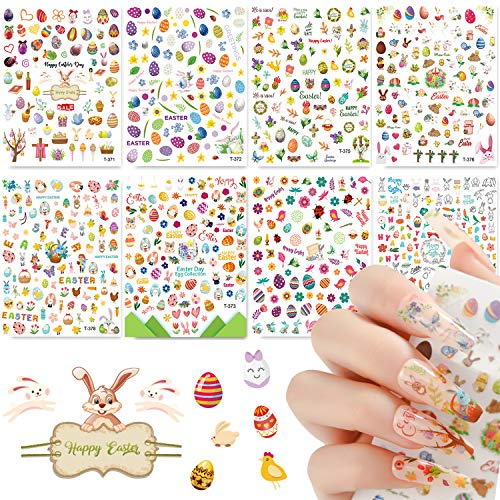 8 Sheets Easter Nail Art Stickers 3D Easter Nail Decals Self Adhesive Bunny Eggs Chicken Cartoon Rabbits Nail Design Stickers Cute Holiday Nail Sticker for Women Kids Grils DIY Decorations