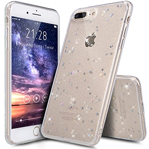 Funda iPhone 8 Plus,Funda iPhone 7 Plus,Cristal Piel Suave Estrellas Brillantes Lentejuelas Transparente TPU Silicona Fundas Skin Cover Carcasa Silicona Funda Case para iPhone 8 Plus/7 Plus,Claro A