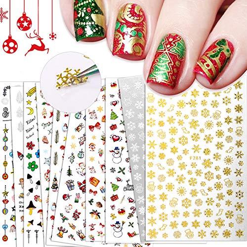 BiBiSi Christmas Nail Art Stickers Decals Nail Art Supplies 10Pcs Christmas Theme Nail Foil Self-Adhesive 3D Nail Art Accessories Nail Art Designs for Acrylic Nails DIY Holiday Fashion Decorations