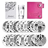 Biutee 16pcs Placas para uñas de Flores,Animales y image Geométrico +1 Estampador de uñas +1...