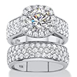 Platinum over Sterling Silver Round Cubic Zirconia 2 Pair Halo Bridal Ring Set Size 8