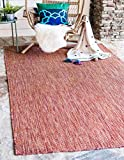 Unique Loom Outdoor Solid Collection Casual Transitional Indoor and Outdoor Flatweave Rust Red Area Rug (4' 0 x 6' 0)
