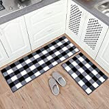 Carvapet 2 Pieces Buffalo Plaid Check Rug Set Water Absorb Microfiber Non-Slip Kitchen Rug Bathroom Mat Checkered Doormat Carpet for Laundry 17'x48'+17'x24', Black and White