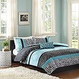 Mi Zone Chloe Comforter Set Full/Queen Size - Teal, Polka Dots, Damask, Leopard – 4 Piece Bed Sets – Ultra Soft Microfiber Teen Bedding for Girls Bedroom